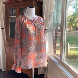 Skies Are Blue Paisley Print Top W/Cami, Size S